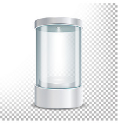 Round empty glass showcase podium with spotlight vector