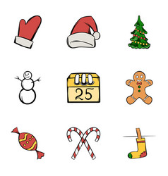 Santa claus icons set cartoon style vector