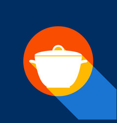 Saucepan simple sign white icon on vector