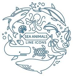 Sea animals line icons vector image vector image