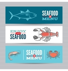 Seafood banners set vector image vector image