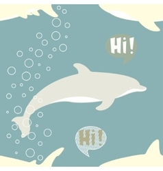 Seamless pattern with cute shark and dolphin vector