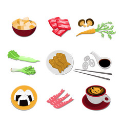 set of japanese food icons asian cuisine elements vector image
