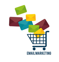 Shopping cart with email marketing vector