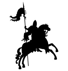 silhouette banner-bearer on a horse vector image vector image
