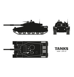 Silhouette of realistic tank blueprint vector