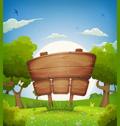 Spring and summer landscape with wooden sign vector