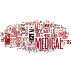 The medical tourism hotspots text background word vector