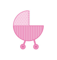 Traditional baby carriage with pink dotted soft vector