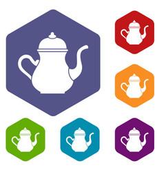 Traditional turkish teapot icons set hexagon vector