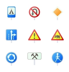 Traffic sign icons set cartoon style vector