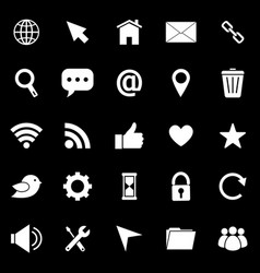 Website icons on black background vector