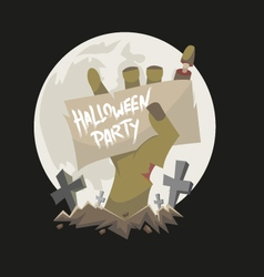 Zombie hand holding a banner vector image