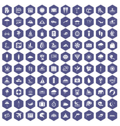 100 surfing icons hexagon purple vector