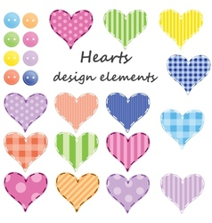 Set of different hearts design elements vector