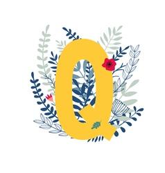 floral alphabet letter q vector image