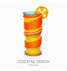 3d cocktail tequila sunrise design vector