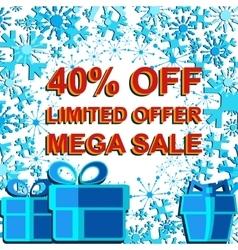 Big winter sale poster with limited offer mega vector
