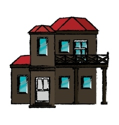 Drawing house with balcony red roof vector