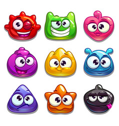 funny cartoon jelly characters vector image
