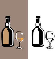 Glass and bottle cognac vector