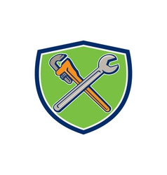 Spanner monkey wrench crossed crest cartoon vector