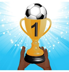 football trophy with hands and starburst vector image