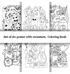 Set of six pattern with doodle monsters vector