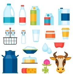 Milk set of dairy products and objects vector