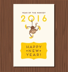 happy new year greeting card with hanging monkey vector image