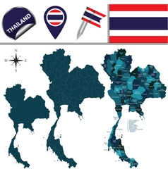 Thailand map with named divisions vector