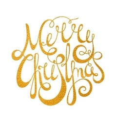 Gold handwritten inscription merry christmas vector