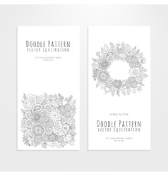 Set flyers with floral doodle pattern vector