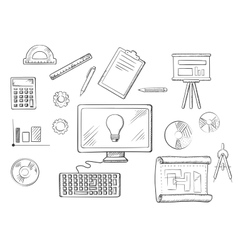 Architect or education sketched icons vector
