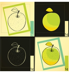 Four apples vector