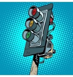 Retro classic three-color traffic light vector