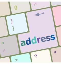 Address button on the keyboard close-up vector