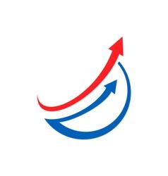 arrow chart business finance logo vector image