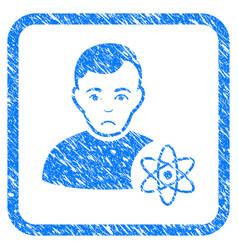 Atomic scientist framed stamp vector