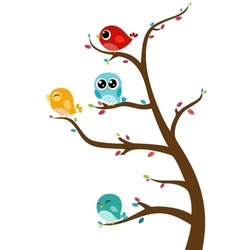 Birds sitting on tree vector image