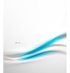 Blue glossy silk wave design template vector