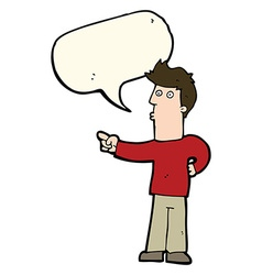cartoon curious man pointing with speech bubble vector image