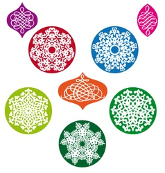 Christmas balls with snowflake pattern vector image vector image