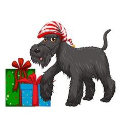 Christmas theme with dog and present vector