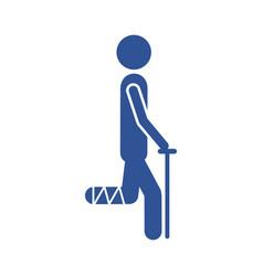 Color silhouette pictogram bandaged leg patient vector