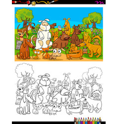 dogs and cats characters group color book vector image vector image