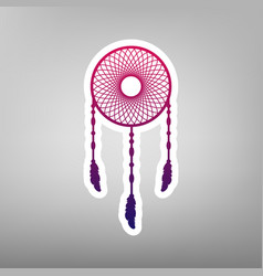 Dream catcher sign purple gradient icon vector