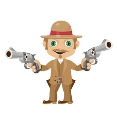 Elegant man with guns character in vintage style vector image vector image