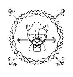 emblem dog hipster hunter city icon vector image