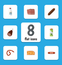 Flat icon meal set of bottle bratwurst beef and vector